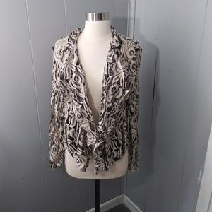 Sheer Floral Hi Low Black and White Cardigan I.N.C